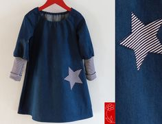"""Mädchenkleid """"Emma"""" - Jeanskleid langarm von  katharina-meintke-kids - Lieblingssachen für Kinder auf DaWanda.com"""