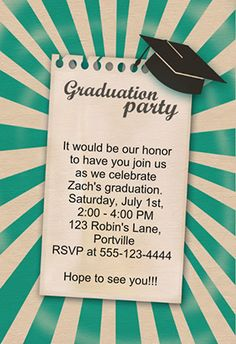 """Join our graduation party"" printable graduation party invitation. Customize, add text and photos. print for free! #graduation #party"