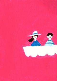 By Higuchi Sakuya Japanese Illustration, Children's Book Illustration, Character Illustration, Graphic Design Illustration, Graphic Design Art, Paper Collage Art, Alice, Thing 1, Illustrations Posters