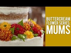A Buttercream Flowers Tutorial on Mums and Leaves for Cake Decorating. Learn how to make gorgeous full Chrysanthemums and buttercream leaves. Cake Decorating Techniques, Cake Decorating Tutorials, Cookie Decorating, Buttercream Flowers Tutorial, Frosting Flowers, Fondant Flowers, Cake Icing, Buttercream Cake, Cupcake Cakes