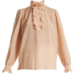 Stella McCartney Ruffle-trimmed silk crepe de Chine blouse (2.435 BRL) ❤ liked on Polyvore featuring tops, blouses, light pink, vintage blouses, vintage silk blouse, high neck silk blouse, vintage ruffle blouse and beige blouse