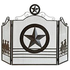 Amazon.com: Gifts & Decor Rustic Weathered Texas Lone Star Metal Fireplace Screen: Home & Kitchen