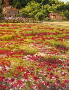 Poppy Field in May, Tuscany by Caroline Zimmermann,  Oil on Canvas, 80cmx59cm
