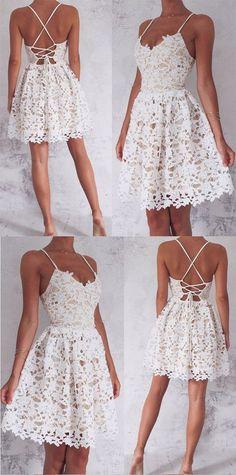 A-Line Spaghetti Straps Homecoming Dress,Lace-Up White Lace Short Homecoming Dress,Sleeveless Sweet 16 Cocktail Dress,Homecoming Dress HY58