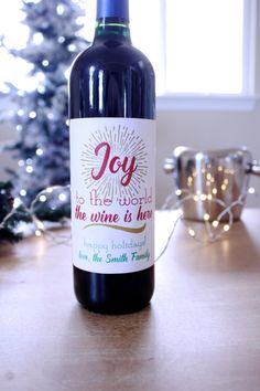 Holiday Wine Labels Funny Wine Labels Christmas by StickEmUpLabels