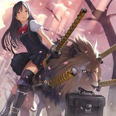 Not sure what this is from, but it's totally random. Samurai schoolgirl with swords riding a lion to school.