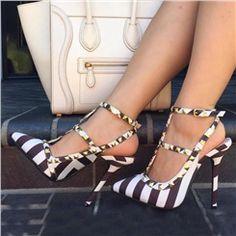 Shoespie Rivets Stripes Cloth Stiletto Heels