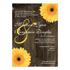 Rustic Barn Wood Yellow Daisy Wedding Invitations Custom Invites #countrywedding #wedding