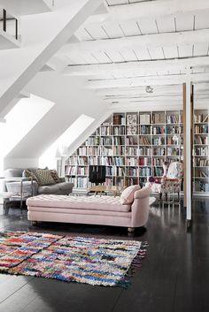 couturemango:    Loft apartment Copenhagen. Beautiful Bookshelves.