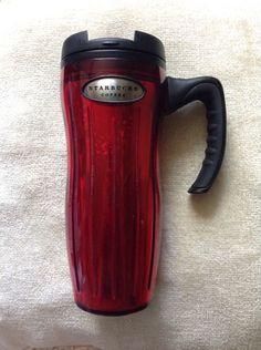 5e58c0efb6e 2004 Barista STARBUCKS Stainless Steel Red Coffee Travel Mug With Handle  16oz