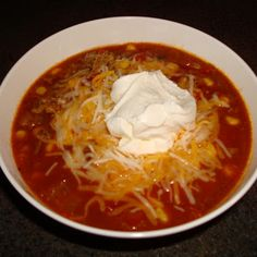Taco Soup @keyingredient #cheese #tomatoes #soup