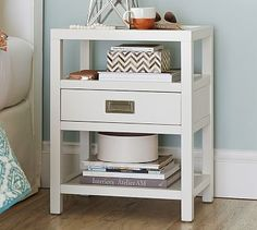 """Lonny Bedside Table #potterybarn - $349 28""""H x 22""""W - perfect dimensions. Handle looks brushed metal not brass"""