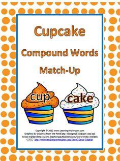 #Freebie Cupcake Compound Words Match-Up Activity #TeachersFollowTeachers #TPT #FREE