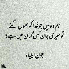 John Elia 2 line Poetry - Meher Diary Love Quotes In Urdu, Urdu Love Words, Poetry Quotes In Urdu, Best Urdu Poetry Images, Urdu Poetry Romantic, Love Poetry Urdu, Urdu Quotes, Islamic Quotes, Qoutes