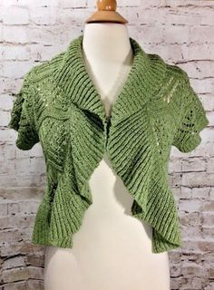 Dressbarn Olive Green Open Front Sweater Shrug Size Large Woven Metallic Top EUC #dressbarn #Shrug #Casual