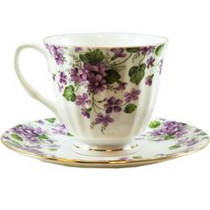Coastline Imports Violet Tea Set : Bone China