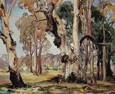 Works on Paper - Hans Heysen - Page 10 - Australian Art Auction Records Watercolor Trees, Watercolor Landscape, Landscape Paintings, Watercolor Paintings, Watercolours, Tree Paintings, Landscapes, Australian Painting, Australian Artists