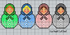 .Matryoshkas nesting doll cross stitch or  perler bead pattern