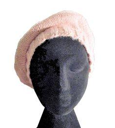 Béret, bonnet, béret femme, tricoté main, fait-main, rose poudré ♣♣♣Beret, hat, beret woman, hand-knit, hand-made,pink