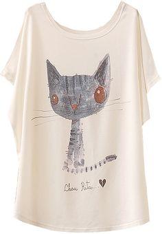 White+Batwing+Short+Sleeve+Cat+Animal+Print+T-Shirt+Tshirt+10.99