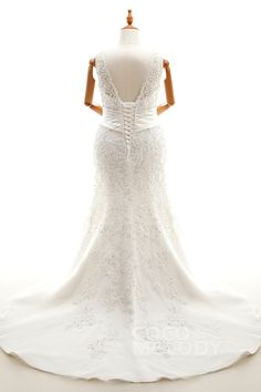 Modern Trumpet-Mermaid V-Neck Natural Court Train Lace Ivory Sleeveless Lace Up-Corset Plus Size Wedding Dress Beading CWAT16009#Cocomeldy#Weddingdresses#Bridalgown#