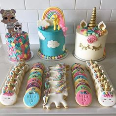 My number one girl turned Through the year she had stored away cake ideas and wanted 3 cakes to celebrate. All the cake and cookie details in posts to come 😍😍😍 Mini Cakes, Cupcake Cakes, Unicorn Themed Birthday Party, Savoury Cake, Cake Decorating, Sweet Treats, Sweets, Cake Ideas, Posts
