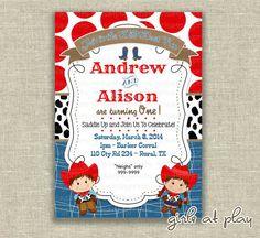 Twins Birthday Cowboy Cowgirl Boy Invitation by girlsatplay 1200