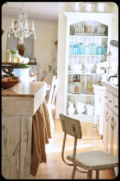 Old beadboard cabinet, darling chandy, burlap curtained island~ADORABLE Cute Kitchen, Kitchen Dining, Burlap Kitchen, Kitchen Island, Rustic Kitchen, Kitchen Ideas, Cocina Shabby Chic, Shabby Chic Kitchen, Home Kitchens