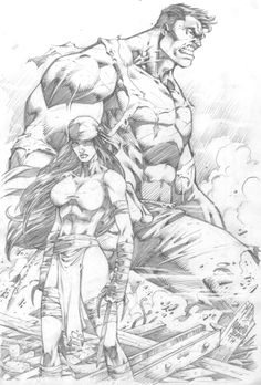 #Hulk #Fan #Art. (Hulk/Elektra) By: Marcio Abreu. ÅWESOMENESS!!!™ ÅÅÅ+