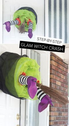 DIY Witch Crash Wreath. Create your very own crashing witch with a few simple and inexpensive materials. It makes a wickedly cute Halloween door hanging to your family's holiday decorations or used as a fun Halloween gift for a loved one.