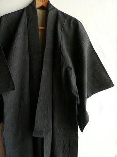 Japanese vintage men's kimono  cotton stripe  by WhatsForPudding, $45.00
