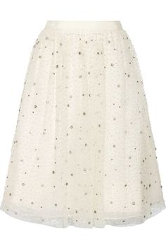 Alice + Olivia Catrina embellished tulle and organza skirt NET-A-PORTER.COM