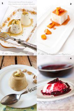 oggi i propongo una selezione di ricette di panna cotta con colla di pesce o agar agar, al pistacchio, al cocco, allo yogurt e con variegature varie....