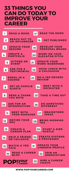 33 Things you can do today to improve your career  ~ Pop Your Career
