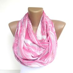 cutee pink infinity scarf, women loop scarf. pink and white chiffon scarves. Tube scarf,eternity scarf, trendy scarf via Etsy