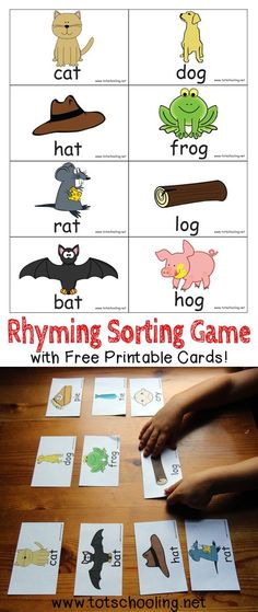 Rhyming Sorting Game with Free Printable Rhyming Sorting Game with Free Printable Whole Child Homeschool wholechildhs Phonemic Awareness Free Printable Rhyming Sorting Game Rhyming Kindergarten Kindergarten nbsp hellip Kindergarten Readiness, Kindergarten Literacy, Preschool Learning, Literacy Centers, Early Learning, Learning Activities, Teaching, Literacy Stations, Early Literacy