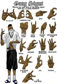 Gang signs. Would be a good reference for a story featuring a gang.