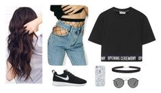 """- _ -"" by black-lynx ❤ liked on Polyvore featuring WithChic, Opening Ceremony, NIKE, Humble Chic and Ray-Ban"