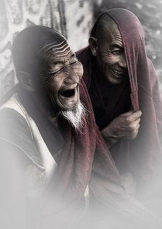 Enjoying a laugh - Tibet.