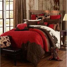 Western Comforter sets sold by Rustic Bedding. Rustic Bedding takes pride in itself as a leader in luxury western bedding collection. Rustic Comforter Sets, Red Comforter Sets, Western Bedding Sets, Mens Bedding Sets, Red Bedding, Luxury Bedding, Western Bedrooms, Indian Bedding, Bedroom Sets