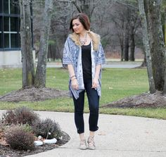 Cardigan:  Cavender's  (fur is removable) // Jeans:  Ewa Bazaar  // Flats: Lord and Taylor     It's my first outfit p...