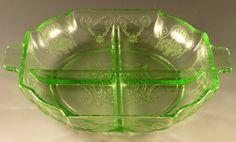 Lorain Green Depression Glass Relish Tray