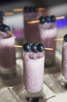 Miniature smoothie shots topped with a trio of fresh blueberries are a fabulous way to cool down in the Barbados heat.