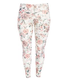 Look what I found on #zulily! White Floral Leggings - Plus by Poliana Plus #zulilyfinds