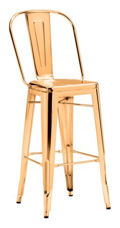 Zuo Modern Elio Bar Chair Gold (Set of 2)