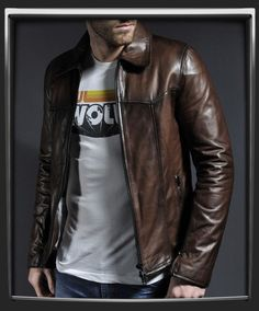 100 Antique Brown Italian nappa leather Luxury contrasting cream lining Fitted waist length jacket Zip cuffs Two interior pockets Model has 40 inch waist, wearing a size Medium for a vintage slim fit Also available in Black Brown Leather Motorcycle Jacket, Vintage Leather Jacket, Men's Leather Jacket, Biker Leather, Leather Men, Leather Jackets, Stylish Men, Men Casual, Leather Fashion