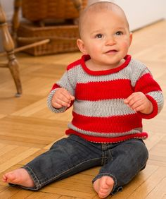 Baby Knitting Patterns Sweter Baby Sports Fan Pullover Free Knitting Pattern from Red Heart Yarns Baby Knitting Patterns, Baby Sweater Knitting Pattern, Baby Sweater Patterns, Knit Baby Sweaters, Knitted Baby Clothes, Knitting For Kids, Lace Knitting, Baby Patterns, Cardigan Pattern