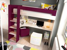 Atractiva y práctica cama alta de 90x190 cm con escritorio insertado. Elige el color que más te guste.