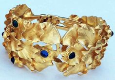William de Lillo - Bracelets 'Feuilles' - Métal Doré et Cabochons Façon Saphir, Emeraude  et Turquoise - 1970