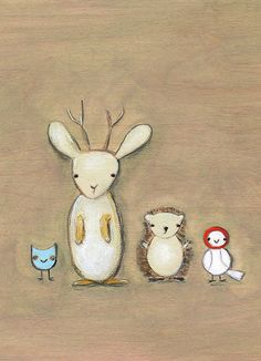 """Jackalope and Friends"" (11 x 17 print). Shop: Creative Thursday (Etsy) by Marisa Anne. Price: $75"